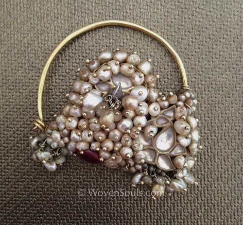 Antique Indian Pearl Gold Nath nose ring