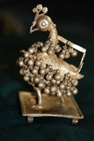 AJS-282 | SILVER PEACOCK ORNAMENT FOR ROYAL HORSE