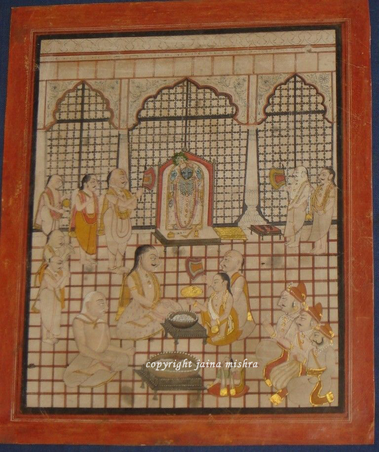 Indian Miniature Srinathji Painting with gold work