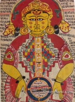 Jain Cosmic man -Loknar from a rare 17th century Sutra folio