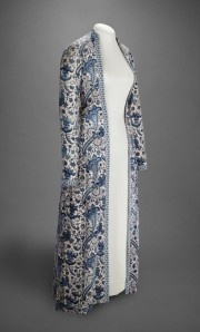 Constructed in Hindeloopen, The Netherlands, mid-18th century. Cotton, resist-dyed and painted; gown, lined with linen, trimmed with Dutch weft-patterned tape (langetband). Veldman-Eecen Collection. Image and description courtesy the Peabody Essex Museum, Salem.