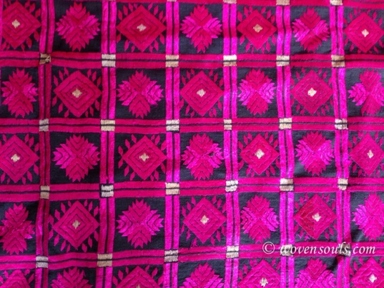 OLD SILK EMBROIDERY SHAWL FROM NORTH WEST FRONTIER PROVINCE