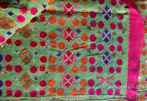 RARE ANTIQUE GREEN SHAWL - SWAT TEXTILE