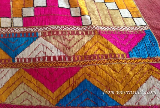 AFP-788 ANTIQUE PHULKARI WITH BLUE WITH INSCRIPTION DATED 1887 01