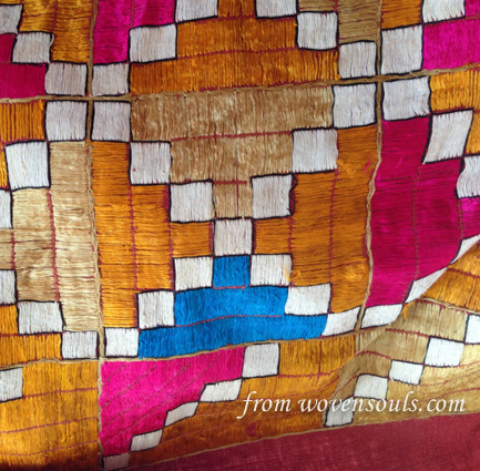 AFP-788 ANTIQUE PHULKARI WITH BLUE WITH INSCRIPTION DATED 1887 15