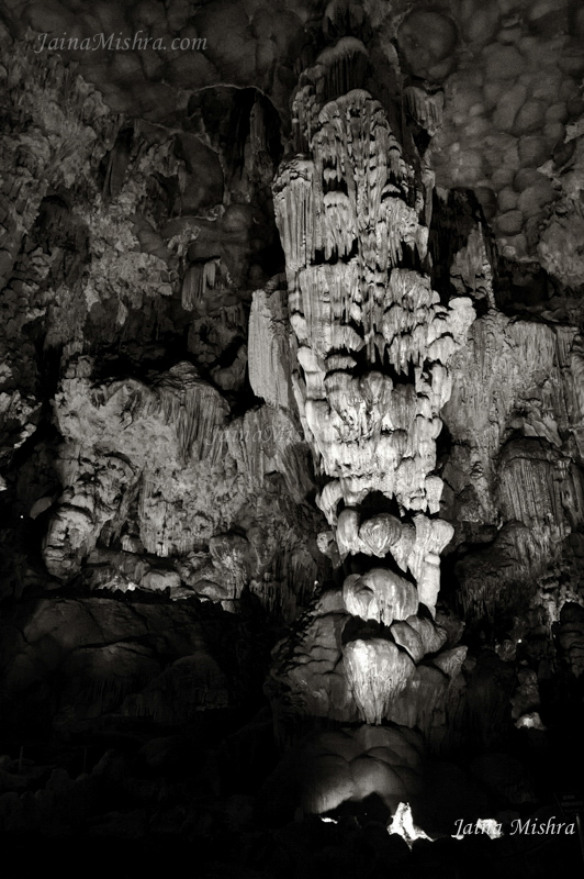 Cave Rock formations, stalactites stalagmites at Halong Bay Vietnam