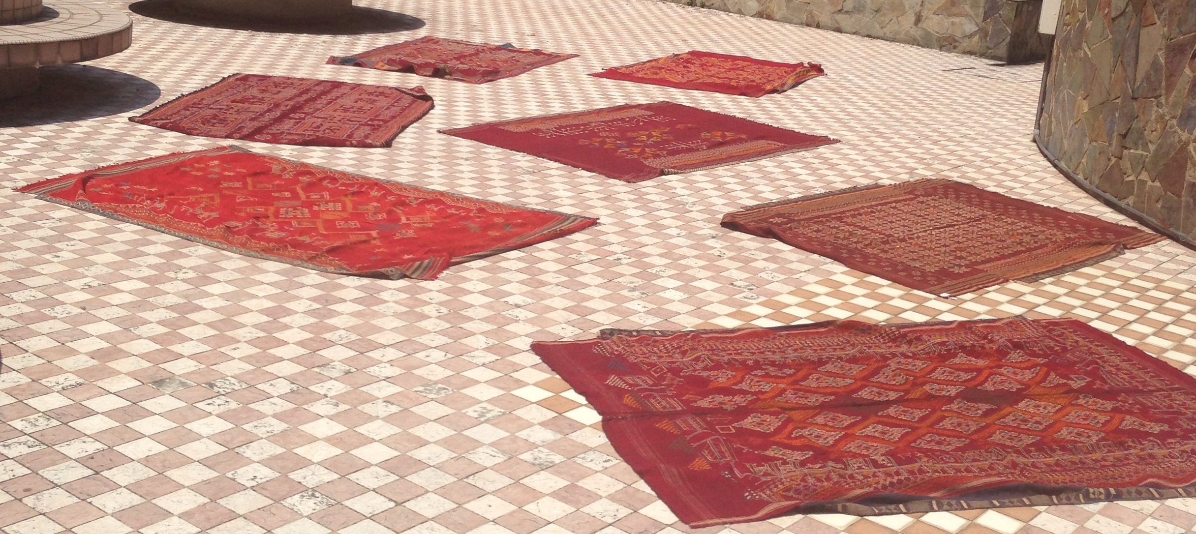 antique wool textiles getting sun wash