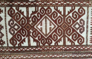 a ANTIQUE KARAKALPAK TURKOMAN TENT BAND PILE DECORATED FLAT WEAVE 19