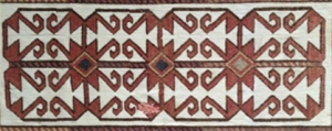 a ANTIQUE KARAKALPAK TURKOMAN TENT BAND PILE DECORATED FLAT WEAVE 23