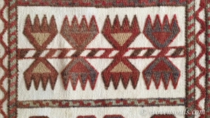 ANTIQUE KARAKALPAK TURKOMAN TENT BAND PILE DECORATED FLAT WEAVE 20c