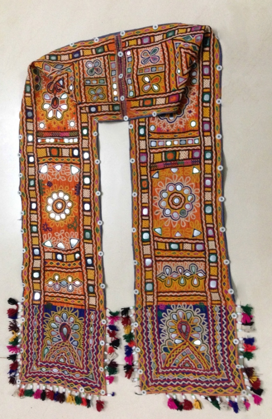 VINTAGE RABARI GROOM'S BOKANI BUKANI SCARF SASH WITH MIRROR EMBROIDERY