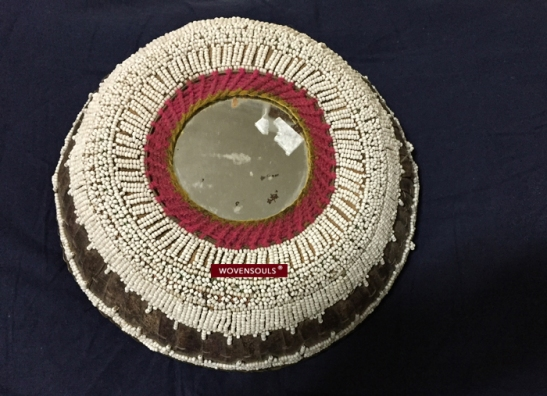 Old Beaded Basket Offering Bowl Palm Leaf