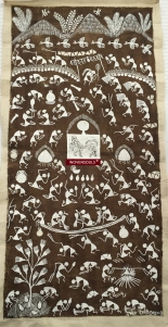 Vintage Warli Painting on cow dung base