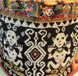 ANTIQUE DAYAK BEADED BABY CARRIER BASKET