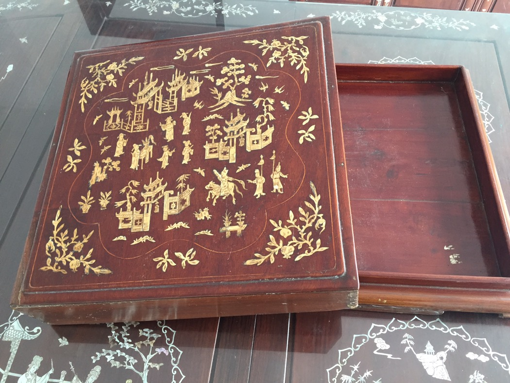 bone ivory inlaid antique chinese wood box art