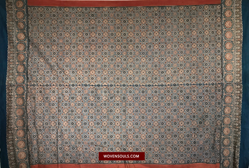 DOUBLE SIDED AJRAKH NATURAL DYES WOOD BLOCK PRINT COTTON TEXTILE ART