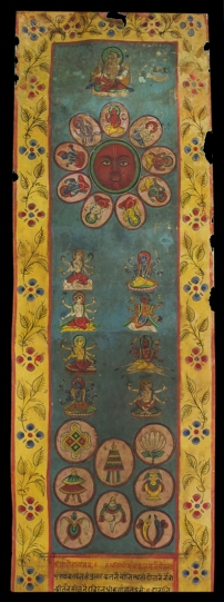ANTIQUE HIMALAYAN BUDDHIST MANUSCRIPT SCROLL WITH PAINTINGS FROM NEPAL