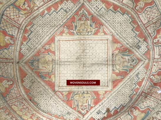 1095 Vintage Mandala Spirit Cloth from Myanmar Burma Buddhist Art Painting