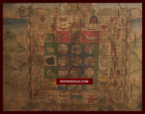 Antique Tibetan Astrological Manuscript Calendar Painting Thangka