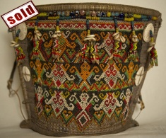 ANTIQUE MUSEUM QUALITY DAYAK BEADWORK BABY CARRIER